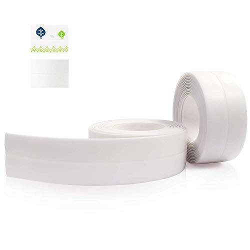 Holymid PVC Caulk Strip for Bathtub, 2 Pack 1.5 Inch Wide 10.5Ft Length Self Adhesive Waterproof Anti-Mildew Sealing Caulking Tape, Edge Protector Decorative Sealant Trim for Toilet and Bathroom,White
