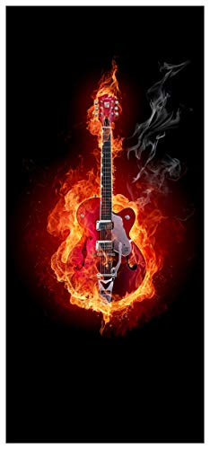 Wallario Selbstklebende Türtapete Brennende Gitarre - 100 x 220 cm in Premium-Qualität: Abwischbar, Brillante Farben, rückstandsfrei zu entfernen