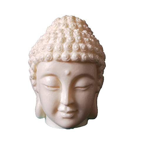 DFNESNN 3D Buddha Head Candle Mold for Gift Collection Crafts, Handmade Resin Mold Buddha Statue Decoration Living Room Office