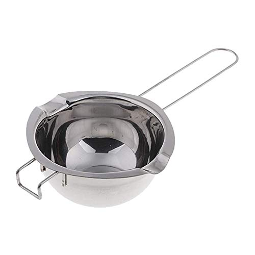 YepYes Melting Steel Pans Heat Butter Melting Pot 480ml Double spouts with Heat Resistant Handle for Candle Chocolate Silver Cheese