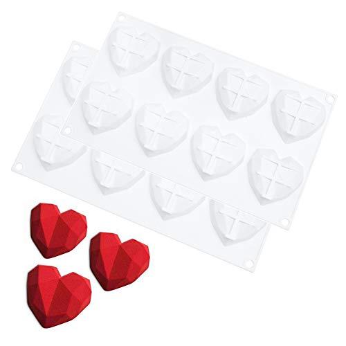 Bohoman 2 Piezas Moldes de Silicona para Magdalenas Bombones, Forma de Corazón 3D Amor Mousse Flan Moldes para Hornear, Herramientas de Bricolaje para Tortas Caramelos Chocolate