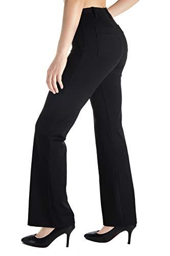 "Yogipace, Belt Loops, Women's Petite/Regular/Tall Dress Pant Bootcut Yoga Work Pants Slacks Trousers Back Pockets Office Commute Travel, 35"",Black,Size M"