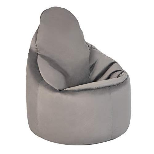 Loft 25 Capriccio Velvet Bean Bag Chair   Indoor Home Living Room Premium BeanBag Seat   Ergonomic Design for Body Support   Durable & Comfortable (Slate, Bean Bag)