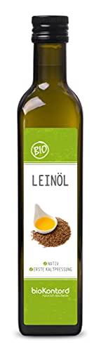 Leinöl BIO 500ml I nativ und kaltgepresst I enthält mehrfach ungesättigte Fettsäuren I mühlenfrisch vom Hersteller bioKontor