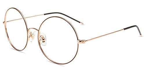 Firmoo Anti Blaulicht Brille ohne Sehstärke Schokolade-Gold, Blaulichtfilter Computerbrille Anti Augenmüdigkeit Entspiegelt, Blaufilter UV Schutzbrille für Bildschirme Metallbrille