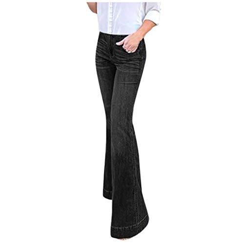 Handyulong Womens Jeans Bootcut High Rise Stretch Denim Pants Wide Leg Bell Bottom Flare Jegging Sweatpants Plus Size Black