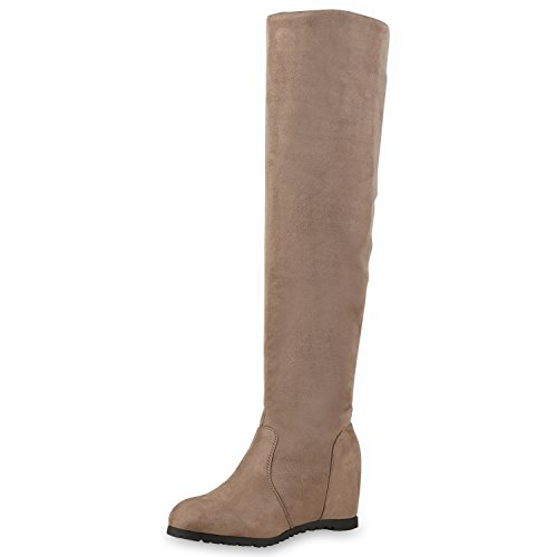 SCARPE VITA Damen Stiefel Keilabsatz Overknees Wedges Boots Schuhe 127547 Taupe 38