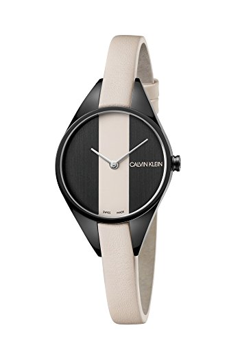 Calvin Klein Damen Analog Quarz Uhr mit Leder Armband K8P237X1