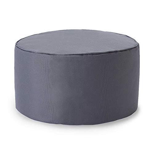 Lumaland Indoor Outdoor Sitzhocker 25 x 45 cm - Wasserabweisend - Pflegeleicht -Runder Sitzpouf, Sitzsack Hocker, Sitzkissen, Bean Bag Pouf - ideal für Kinder und Erwachsene - Stahlgrau