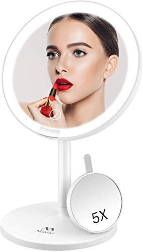 Espejo Maquillaje con Luz, Misiki Espejo de Maquillaje LED Espejo Cosmético Maquillaje con 5X Espejo Aumento, Espejo Mesa Pantalla Táctil USB Recargable, Rotación de 135° Espejo Tocador de Maquillaje