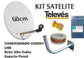 KIT SATELITE TELEVES ASTRA CON DISCO DE PARABOLICA DE 65cm + LNB TELEVES + ROLLO DE CABLE DE 20mt + BRAZO DE FIJACION A PARED Y CONECTORES F