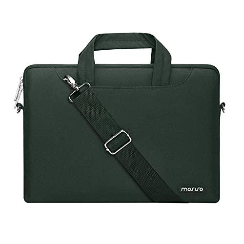 MOSISO Laptop Schulter Umhängetasche Kompatibel mit MacBook Pro/Air 13 Zoll, 13-13,3 Zoll Notebook, Polyester Aktentasche Hülle mit Reißverschluss Fach & Trolley Gürtel,Mitternacht Grün
