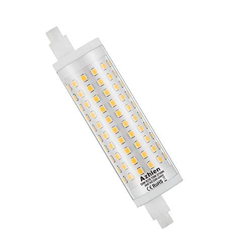 R7S LED 15W 118mm Regulable Lámpara de reflector Azhien, blanco cálido 2700K, 15 vatios, equivalente a la lámpara halógena 80W 100W 125W, 230V CA, 1700LM-2000LM, 360 grados, 1 paquetes