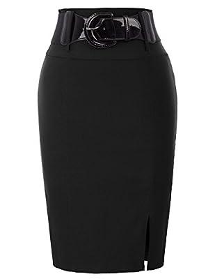 Belle Poque Women's Casual Midi Bodycon Career Pencil Skirt with Belt Black Size M BP762-1