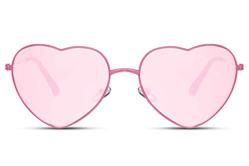 Cheapass Gafas de Sol Metálicas Forma de Corazón Montura Rosa con Cristales Rosas protección UV400 Mujeres