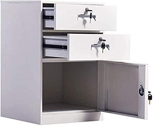 cajones para documentosGabinete de almacenamiento de archivos Archivador de metal con 2 cajones y 1 puerta con cerradura Gabinete de datos que llena la mesita de noche Gabinete de almacenamiento