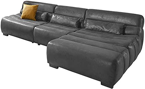 Cavadore Ecksofa Scoutano in Antiklederoptik mit Recamiere rechts / Sofa L-Form mit XXL-Longchair im Industrial Design / 268 x 76 x 170 cm / Lederoptik Schwarz