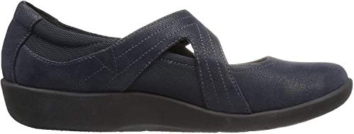 CLARKS Women's Sillian Bella Mary Jane Flat, Navy Synthetic, 9 W US