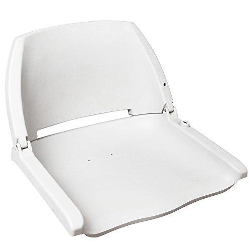 [pro.tec] Bootsstuhl Steuerstuhl Klappbar Weiß Bootsitz Motorbootsitz Steuersitz
