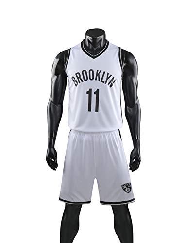 YZQ Uniformes De Baloncesto De Los Hombres, Brooklyn Nets # 11 Kyrie Irving NBA Camisetas Sin Mangas Camisetas Casuales Camisetas De Baloncesto Tops Y Pantalones Cortos,Blanco,XL(Child) 145~155CM