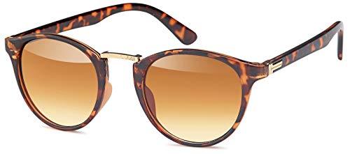 styleBREAKER gafas de sol con lentes redondas ovaladas y puente nasal de metal, montura de plástico-metal, unisex 09020084, color:Dorado-marrón montura mate / Marrón vidrio corrido