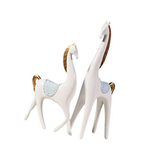 Veemoon 1 par de Resina Pareja Caballo Estatuilla Amante Estatuas Creativo Abstracto Animal Escultura Tablero de Instrumentos del Coche Decoraciones para TV Gabinete Oficina en Casa