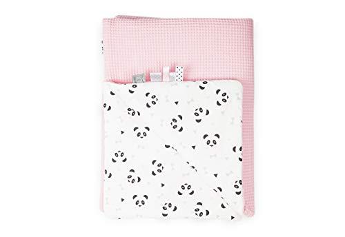 MoMika Babydecke aus hochwertiger Waffelbaumwolle | 75 x 100cm | Baby Kuscheldecke| 100% Baumwolle | Süßer Pandabär