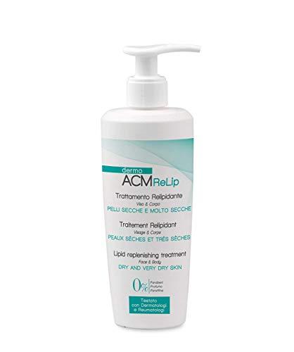 DermoACM ReLip Traitement hydratant indiqué pour l'hydratation quotidienne de peaux fragiles, fines ou déshydratées pour visage et corps flacon de 300 ml avec distributeur