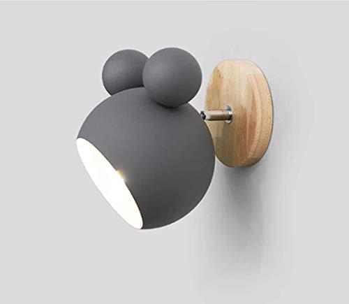 Zi Yang Moderno Minimalista lámpara de Pared Creativo Moda Ajustable Cabeza Dentro por Sala Sala Guardería Restaurante Cafetería Lámpara Retro Dormitorio Hierro Arte Decoración Lámparas de Pared,Gris