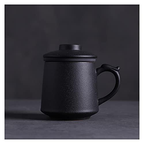 Chengcheng AIYISITELU Tazas de cerámica Tazas con filtros Taza de café Japonesa Taza de Bebida 380ml KAFEIFEI (Color : Black)