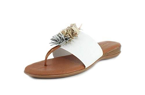 Andre Assous Womens Novalee Elastic White Metallic Sandal - 10
