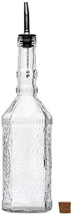 Large Clear Decorative Glass Bottle with Spout and Cork 32oz 1 Bottle Design VINO 3in X 11 9in product image