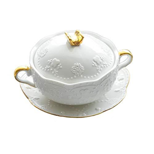 LILINSS Pentola Ramekins & SoufflDishes da tavola binaurale Ciotola Dessert Ciotola Vapore Uovo Ciotola in Ceramica Stufato Cup Pentola Zuppa