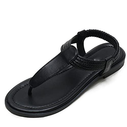 ASKI Sandalias de dedo del pie de las mujeres de verano bohemio estilo étnico simple color a juego retro zapatos romanos(41, B)