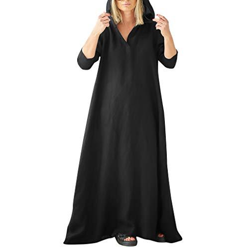 Realde-Vestito Elegante Donna Manica Lunga con Scollo a V Sciolto Sera Vestito Taglie Forti Eleganti Semplice Tinta Unita Abiti Lunghi Abito per Parti