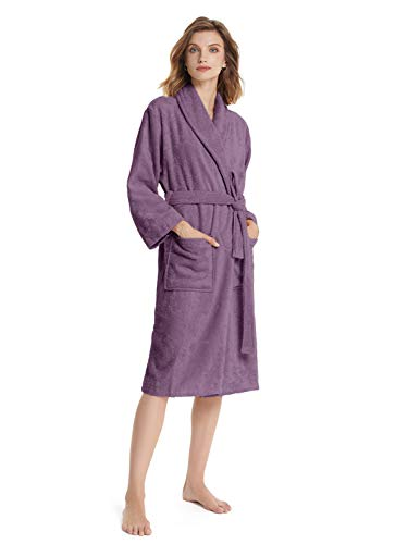 SIORO Bademantel Damen 100% Baumwolle Langarm Frottee Fademantel Kimono Damen Morgenmantel Mit Taschen Saunamantel , Pflaume groß