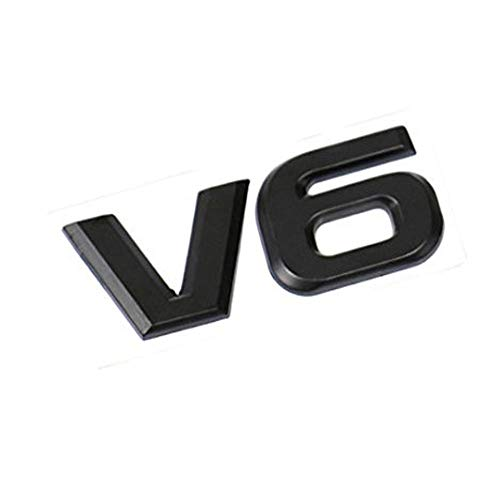 UNDKI Insignia de Emblema de Coche Pantalla de Motor de Metal V6 3D V6 Pegatina Emblema Emblema Insignia para automóviles Accesorios Decorativos Emblema de Repuesto (Color : Black)