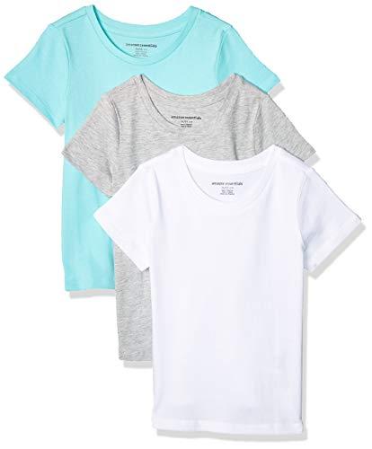 Amazon Essentials Girl's 3-Pack Short-Sleeve Tee, Aqua/Heather Grey/White, XS (5)