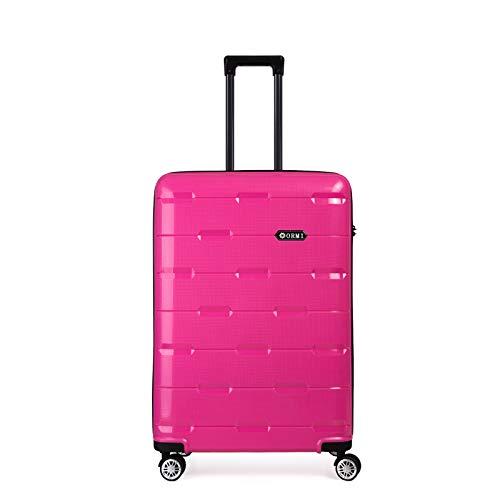 Set valigie da viaggio in Polipropilene - Trolley Rigidi e Leggeri con 4 Ruote - 55x40x22 Bagaglio a Mano/Bagaglio medio/Bagaglio grande da stiva (Rosa, S (55cm-33L))