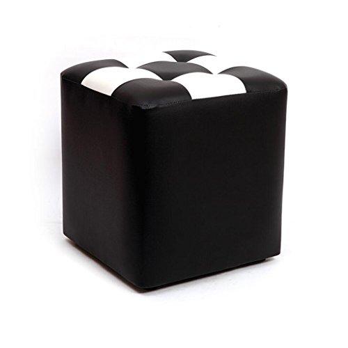 Tabouret de canapé Xuan - Worth Having Tabouret de Tabouret carré Noir Blanc Tabouret de Maquillage en Cuir pour Enfants imperméable à l'eau (30 * 30 * 35cm)