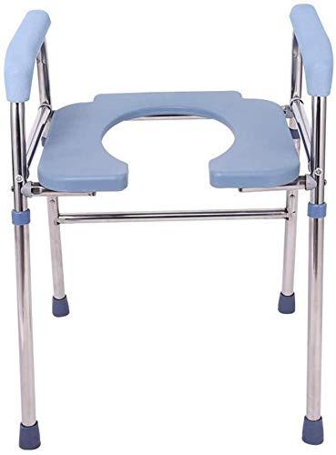 FREIHE commode stoel voor toiletbed, draagbaar voor volwassenen, verhoogd toiletbril en veiligheidsframe (2 in 1), zwaar belastbaar