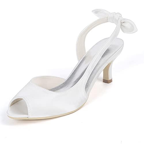 Sandalias Tacon Bajo Punta Abierta para Mujer Satén Zapatos de Boda de...