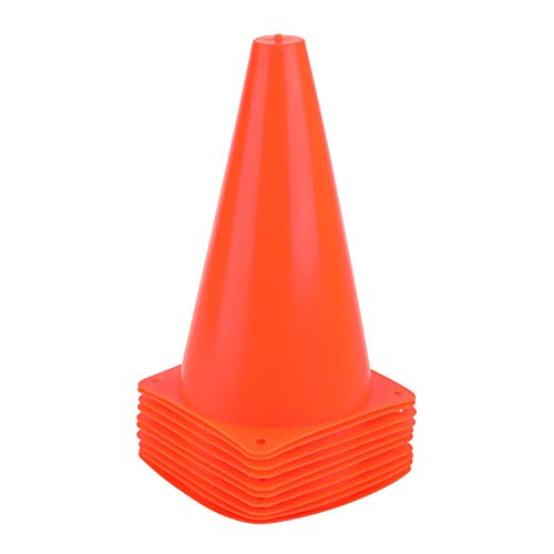 9 Inch Sports Cones, Basketball Cones, Traffic Training Cones, Agility Field Marker Cones for Soccer Football Drills Training, Outdoor Activity or Events - Set of 10, Orange