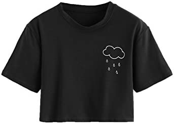 SweatyRocks Women s Summer Casual Short Sleeve Rainy Print Cute Crop Top T Shirt Black S product image