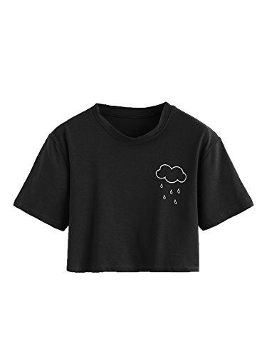 SweatyRocks Women's Summer Casual Short Sleeve Rainy Print Cute Crop Top T-Shirt Black L
