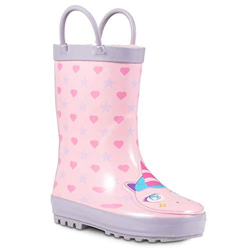 ZOOGS Children's Rubber Rain Boots, Little Kids & Toddler, Boys & Girls Patterns, Pink (Unicorn Critter), 6 Toddler