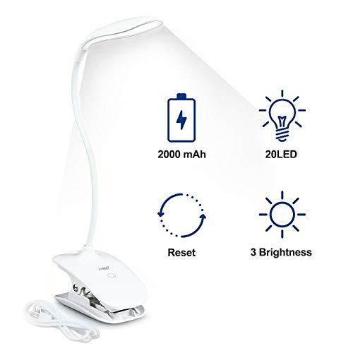 ENG Avancée Lampe de chevet, Lampe de lecture, Lampe clipsable, 20LED Lampe pince pour lit, 3modes d'éclairage, auto-reset et stable luminosité pour maison, bureau, lit, 2000mAh, Blanc