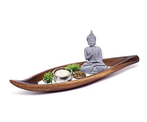 Brillibrum Buddha Zen Garten Miniatur Steinfigur Thai Buddha Deko Set mit Teelicht Buddha Lotus-Sitz ruhend sitzend Meditierend Dekofigur Feng Shui