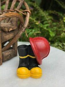 cdc Miniature Dollhouse ~ Mini Fire Fighter Fireman Helmet & Boots