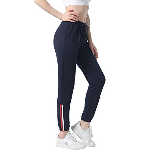shine future Pantalones Deportivos Casuales para Mujer,Pantalones Jogging, Pantalones Chándal Mujer Pantalón Deportivos De Deporte Yoga Fitness (Azul Marino, L)